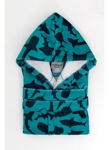 Hamur Shark Lacivert Kapşonlu Bebek Çocuk Bornozu Lacivert
